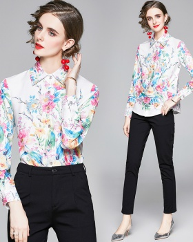 Slim all-match long sleeve printing shirt for women
