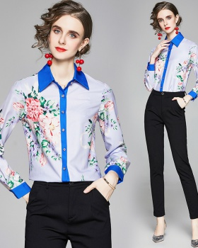 Lapel slim European style long sleeve shirt for women