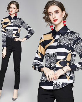 Lapel European style printing all-match slim shirt for women
