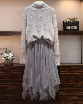Fashion large yard irregular sweater 2pcs set