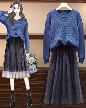 Large yard skirt Korean style sweater 2pcs set for women