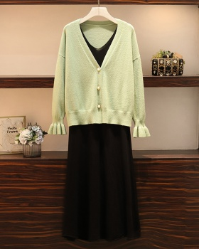 Autumn and winter cardigan large yard skirt 2pcs set