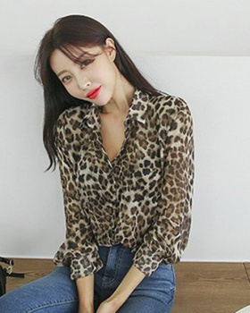 Spring and autumn sexy Korean style tops leopard loose slim shirt