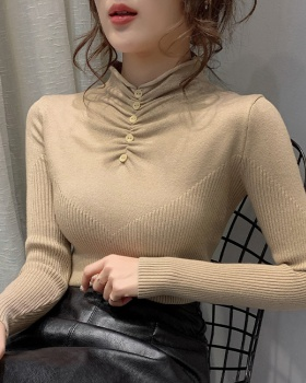 Buckle sweater thick bottoming shirt for women
