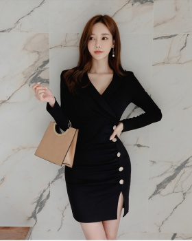 Bottoming Korean style V-neck slim sexy dress