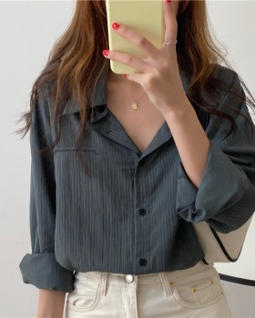 Long sleeve Korean style all-match stripe shirt