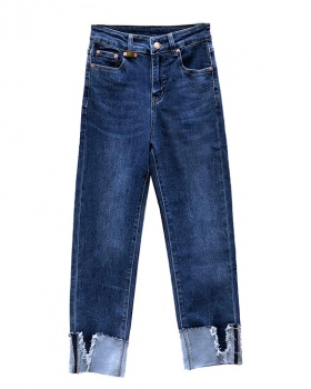 Denim retro autumn slim irregular all-match pants
