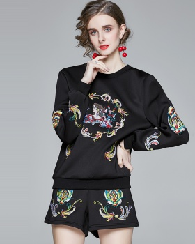 Collocation show high shorts embroidery hoodie 2pcs set
