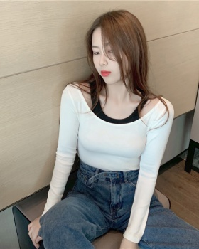 Splice autumn clavicle horizontal collar tops for women