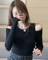Knitted long sleeve bottoming shirt zip tops