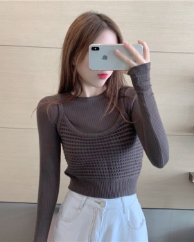 Slim sling sweater outside the ride autumn tops 2pcs set