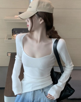 Retro square collar sweater slim bottoming shirt