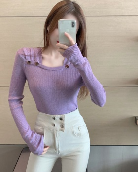 Square collar fold tops autumn pure sweater for women