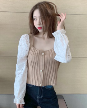 Splice sleeve chiffon sweater square collar clavicle