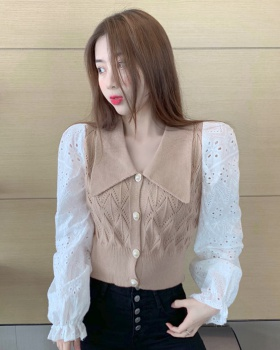 Lapel autumn sweater sweet splice tops for women