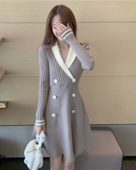 Double-breasted business suit sweater for women