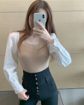 Long sleeve splice sleeve shirt slim bottoming sweater