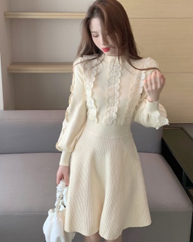 Autumn and winter lace dress splice sweater dress for women