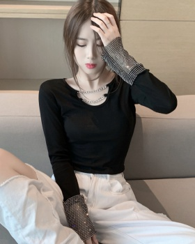 Chain T-shirt rhinestone sleeve bottoming shirt for women