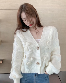 Wears outside knitted sweater autumn and winter bow coat