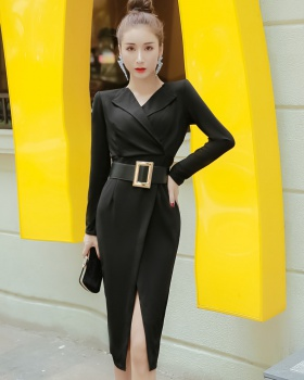 Long sleeve long slim temperament sexy dress for women