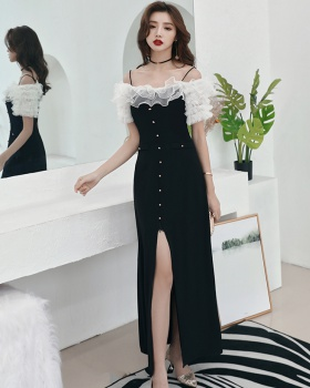 Host temperament sexy queen long split evening dress