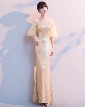 Temperament queen slim evening dress banquet host long dress