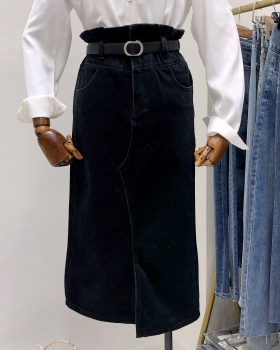 Denim package hip all-match long skirt high waist slim skirt