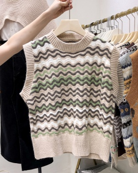 Temperament Korean style vest knitted ripple tops