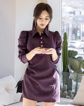Fold purple Korean style T-back pinched waist slim dress