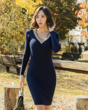Knitted long sleeve package hip dress for women