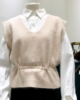 Short pullover small vest pinched waist vest for women