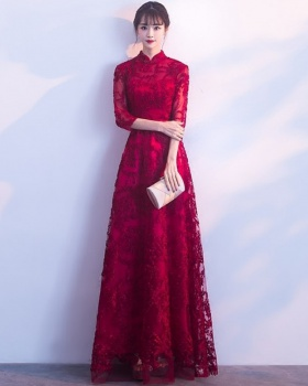 Red long evening dress bride Chinese style long dress