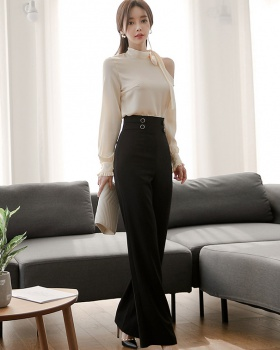 Silk high waist long pants fashion strapless shirt a set