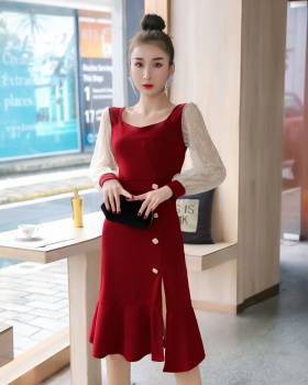 Lace slim dress temperament long long dress