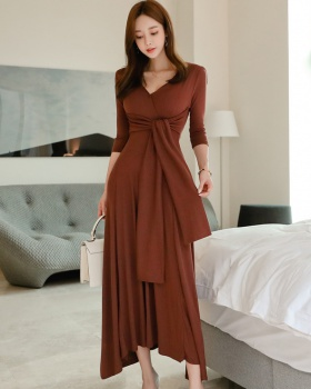 Temperament knitted dress fashion Korean style long dress
