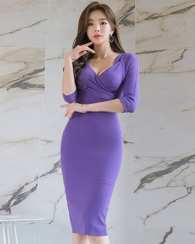 Sexy short sleeve Korean style slim V-neck dress