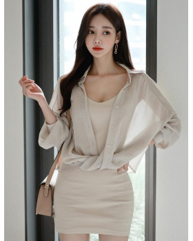 Korean style dress loose shirt 2pcs set for women