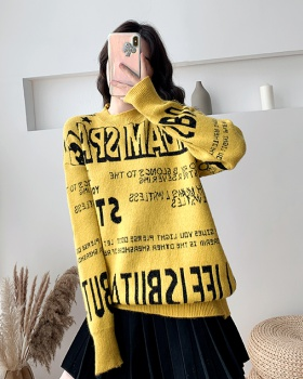Loose letters tops pullover wears outside sweater for women