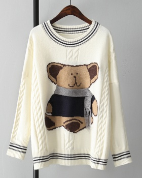 Girl pullover loose sweater knitted cubs tops for women