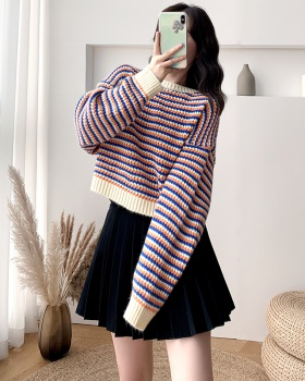 Student stripe short autumn lazy wears outside sweater