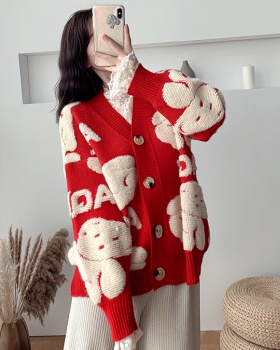 Cubs loose cardigan lazy knitted tops for women