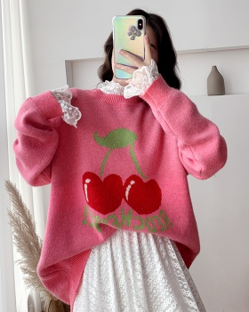 Autumn sweet sweater wears outside cherry tops for women
