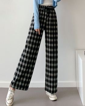 High waist wide leg pants plaid pants for women