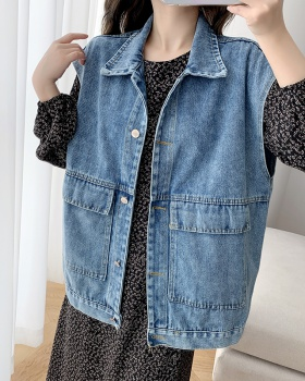 Korean style denim waistcoat sleeveless coat for women