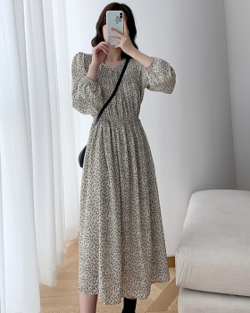 Slim autumn floral Western style dress for women
