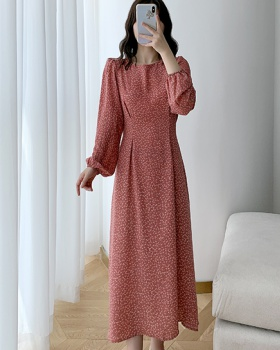 Long sleeve floral temperament autumn dress for women