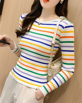 Mixed colors stripe sweater cstand collar tops for women