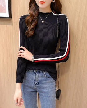 Stripe stripes tops cstand collar sleeve sweater for women