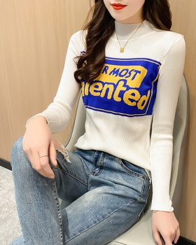 Western style tops half high collar T-shirt